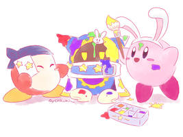 Kirby_Painting the egg by Chivi-chivik