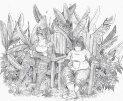 Talking over coffee by Zaphkiellane