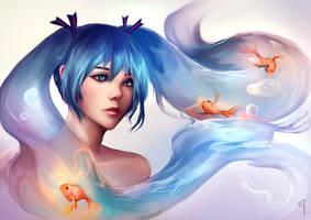 Miku fishglobe by E-tane