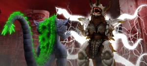 KWCB - Godzilla (H) vs. Bagan (3/3) by KaijuX