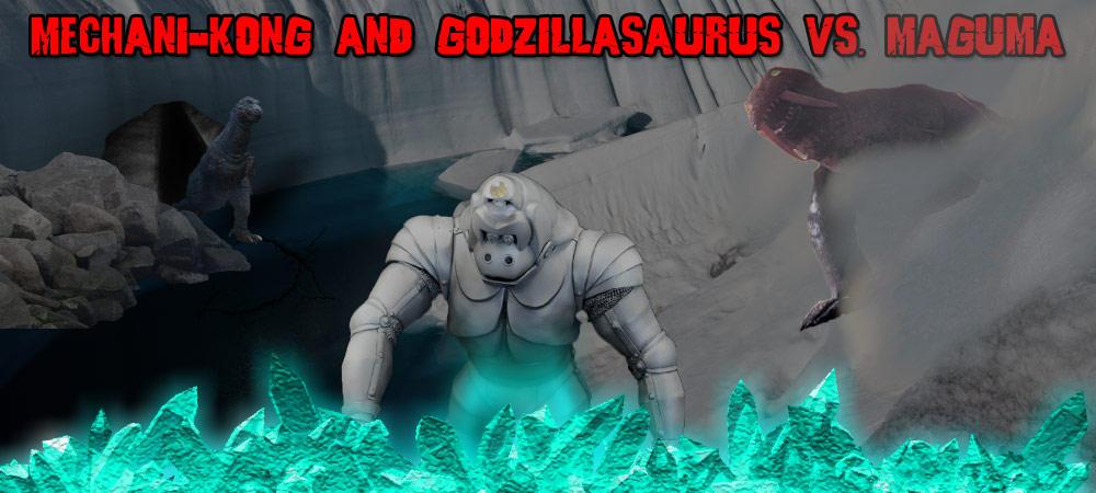 KWCB - Mechani-Kong and Gsaurus vs. Maguma by KaijuX