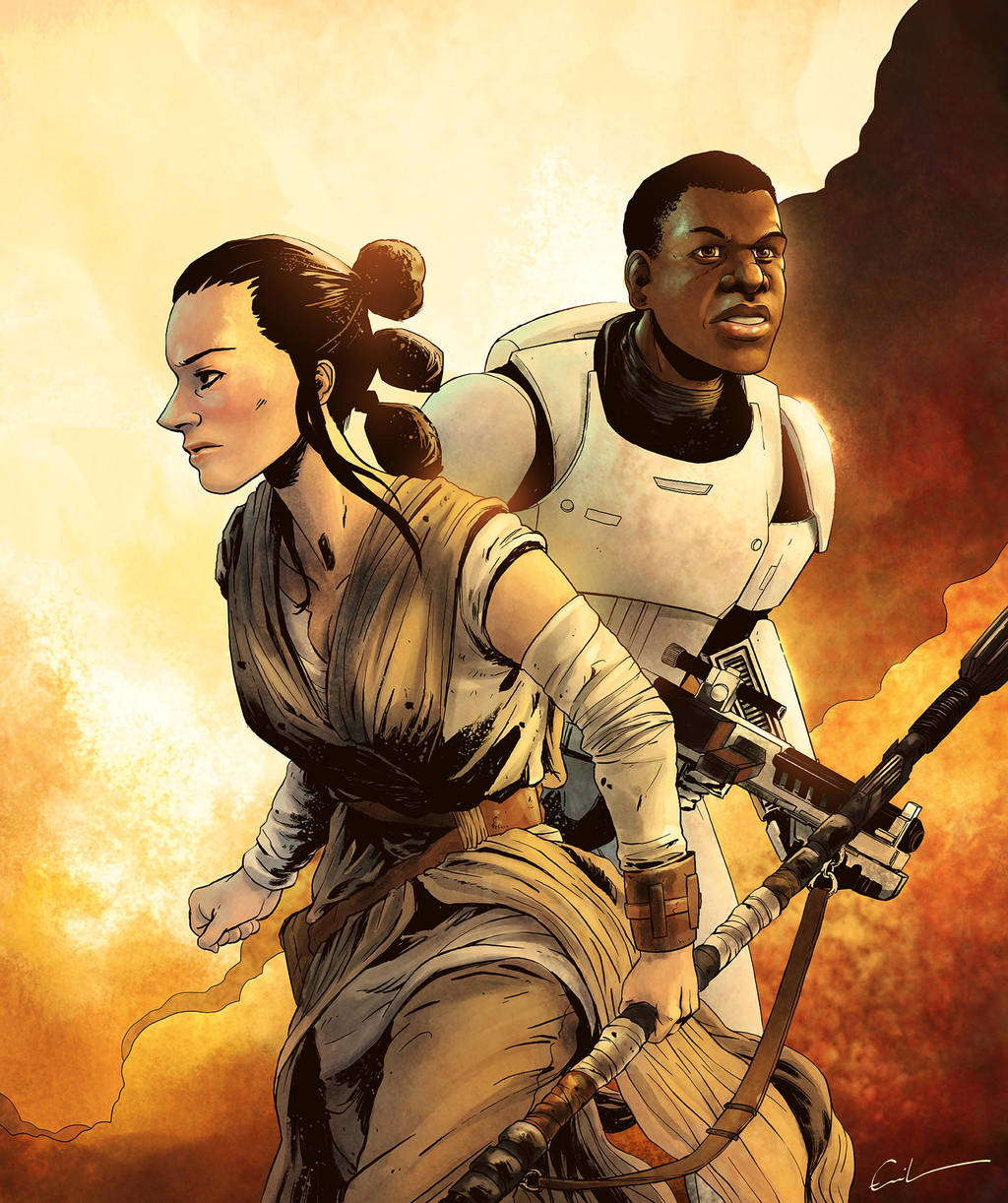 Rey and Finn by Syrphin