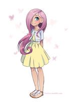 human ponies_Cute Fluttershy by vasira