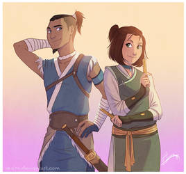 Commission: Sokka and Suki by vasira