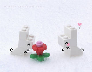 LEGO snowbunny love by milkbun