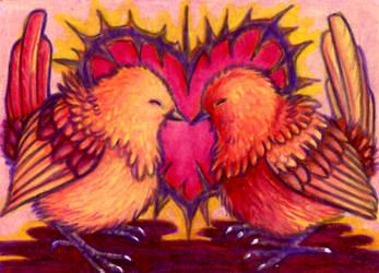 Love Birds ACEO by FelesTacita