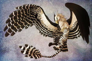 Black and white striped Gryphon by LadyFiszi