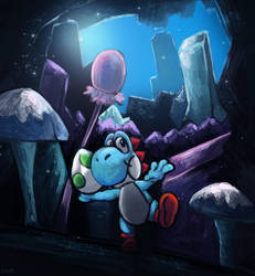 Yoshi in the cave of chomp rock by RainbowPhilosopher