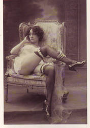 Tired PinUp 1929 by PostcardsStock