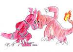Guilmon vs Charmeleon by Animally