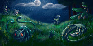Menagerie of Grass-mons by julieloveart