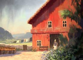 Red Barn by Juhupainting