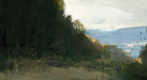 Wayfarer in the landscapes sketch by Juhupainting