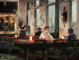 Bar Scene by Juhupainting