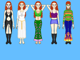 Svenja in different outfits (KiSS doll WIP) by elfboi