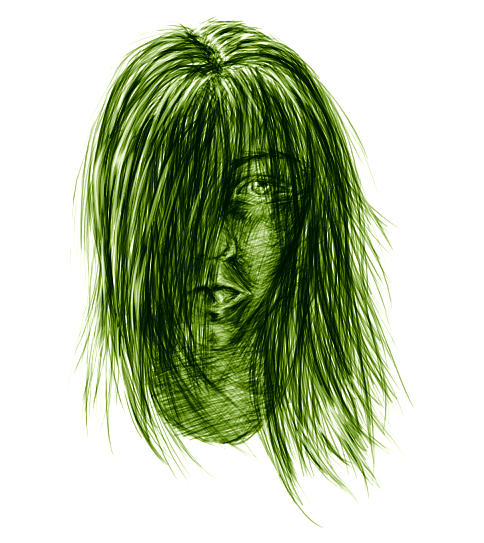 human face green contrast by emi-chan