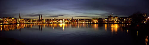 Hamburg Alster Panorama Night by Bull04