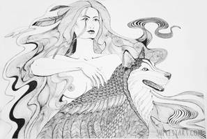 A girl with a wolf by Polina-Shelest