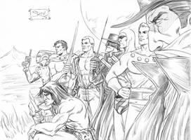 PULP HEROES ZORRO FLASH GORDON SHADOW PHANTOM by markman777