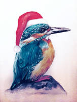 Watercolor Xmas kingfisher by red-fox-child