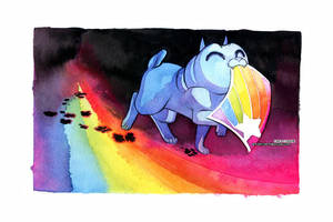 Rainbow Pug Made a Draw by blix-it