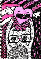 Cat with eyeglasses and heart by analage