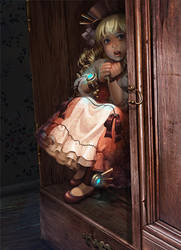 Steampunk girl artwork by Okha