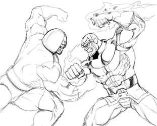 Thanos vs Darkseid by Kaywest