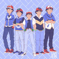 Pokemon's 20th Anniversary / Ash x5 by PokeTrainer-Ashlex