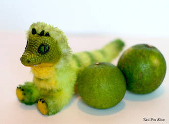 Lime dragon. Art doll by RedFoxAlice