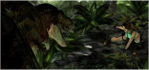 Lara Croft vs. T-Rex by ReD8ull