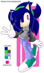 Tsaku The Hedgehog (new sonic OC) by Jasie-Norko