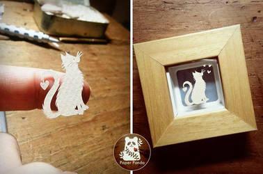 Lovecat - miniature papercut by PaperPandaCuts