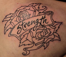 Roses strength banner tattoo by Kiartia