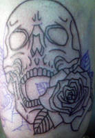 Skull n roses tattoo by Kiartia
