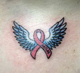 Breast cancer ribbon tattoo by Kiartia