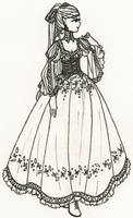 Elven Dress Lineart for color-me-club by alquamire