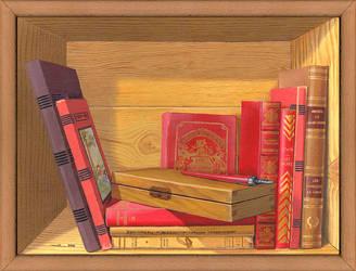 Biblio-au-plumier-30x40cm by jilub