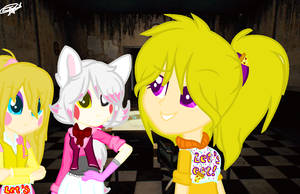 Chica , Mangle and Toy Chica with base by Lissany626