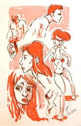 Red Head Sketch by Makoto4bidden