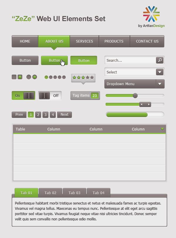 ZeZe - Free Web UI Element Kit by Artfans