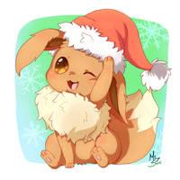 Christmas eevee by Miryusune
