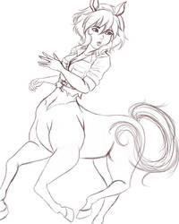 Apriel O'Neil Centaur Rough Sketch by AbigailAngel6
