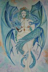 dragon watercolor by FaerieFaith