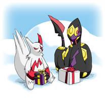 Pokemon Christmas scene No. 1 by mew-at-heart