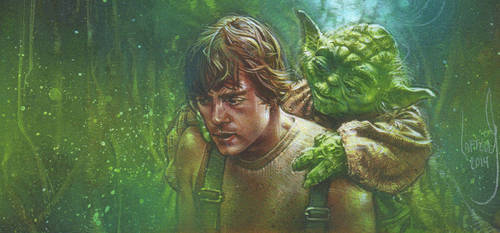 Luke Skywalker and Yoda by JeffLafferty