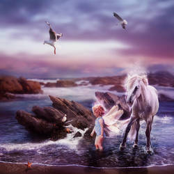 The Little Sea Fairy and the Sea Horse by GingerKellyStudio