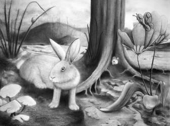 Charcoal Rabbit Commision. by JCoolArts