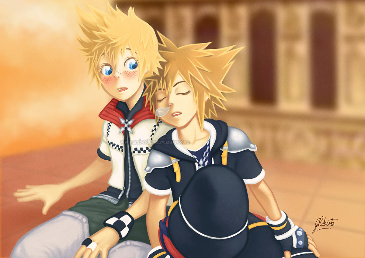 Roxas and Sora at Twilight by AmberDust