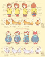 Amber and Spirit Model Sheet: Autumn + Winter by AmberDust